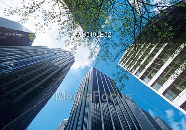 Skyscrapers in New York, NY USA Stock Photo