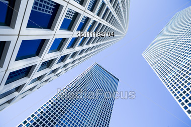 Skyscrapers Under The Blue Sky Stock Photo