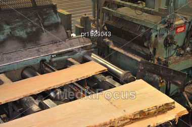 Slabs Of Pinus Radiata Timber Move Through A Sawmill To The Next Set Of Saws Stock Photo