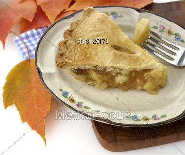Slice Of Apple Pie On A Plate ,Close Up Stock Photo