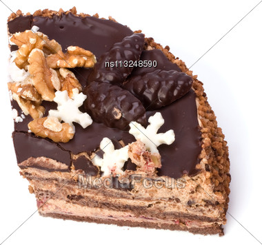 Slice Of Chocolate Cream Cake Isolated On White Stock Photo