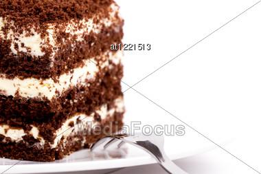 Slice Of Sponge Cake On Plate Close Up Stock Photo