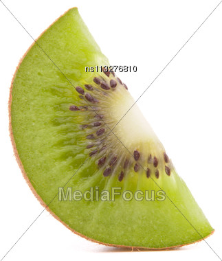 Sliced Kiwi Fruit Segment Isolated On White Background Cutout Stock Photo