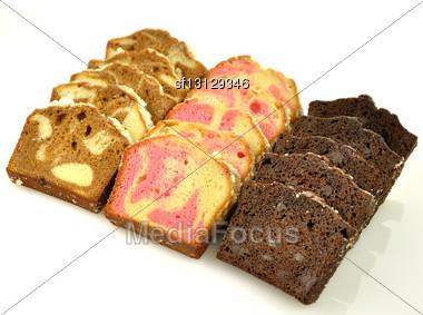 Sliced Loaf Cake Assortment Stock Photo