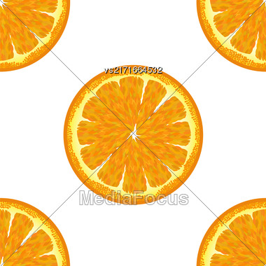 Sliced Orange Seamless Pattern. Exotic Ftuit Background Stock Photo
