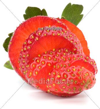 Sliced Strawberry Isolated On White Background Stock Photo