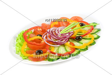 Sliced Vegetables At The Dish Isolated On A White Stock Photo