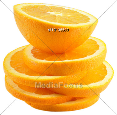 Slices Of Orange On White Background Stock Photo