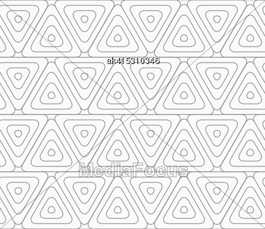 Slim Gray Rounded Triangles With Offset .Seamless Stylish Geometric Background. Modern Abstract Pattern. Flat Monochrome Design Stock Photo