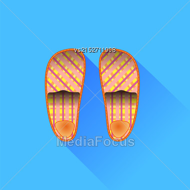 Slippers Isolated On Blue Background. Long Shadow Stock Photo