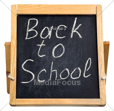 Small Blackboard For Writing With Chalk, Isolated Stock Photo