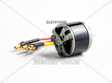 Small Electric Motor And Wires On White Background Stock Photo