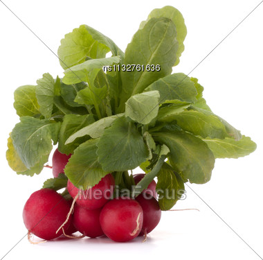 Small Garden Radish With Leaves Isolated On White Background Cutout Stock Photo