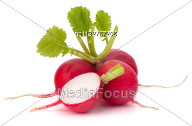 Small Garden Radish Isolated On White Background Cutout Stock Photo
