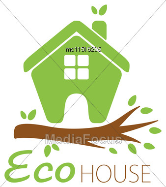 Small Green Eco House On The Tree Branch. House Logo. Ecological House Icon Stock Photo