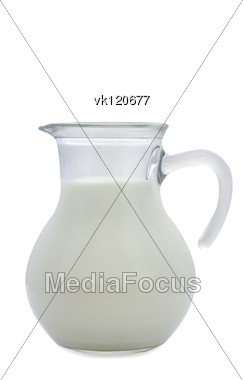 small jug of milk over white Stock Photo
