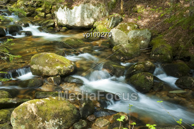 Small Waterfalls In The Middle Of A Forest Stock Photo