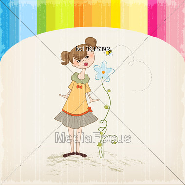 Small Young Lady Who Smells A Flower Stock Photo
