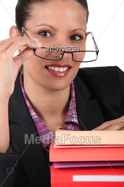Smart Business Woman With Documents Stock Photo