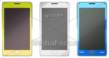 Smart Phones In Yellow Blue And White Colours Over White Stock Photo