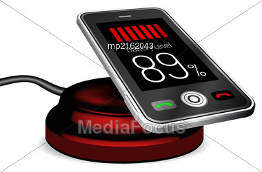 Smartphone On A Wireless Charge. Vector Illustration Stock Photo