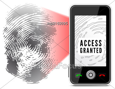 Smartphone Scanning A Fingerprint. Vector Illustration On White Background Stock Photo