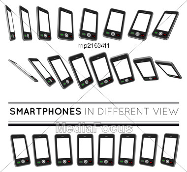 Smartphones In Different View. Vector Set On White Background Stock Photo
