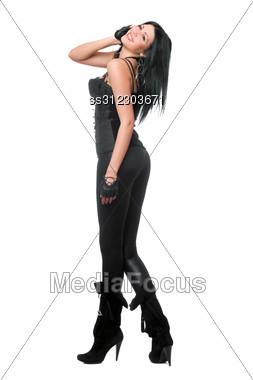 Smiling Brunette In Black Leggings. Stock Photo