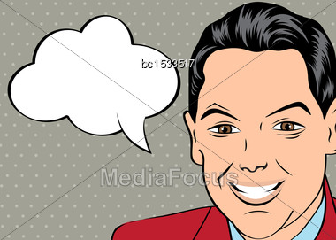 Smiling Businessman, Pop Art Style With Message, Vector Illustration Stock Photo