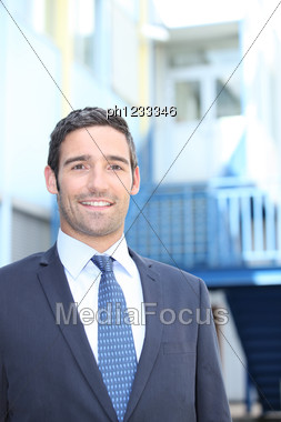 Smiling Entrepreneur On A Site Stock Photo