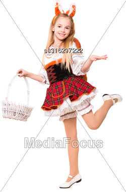Smiling Little Girl Wearing Like A Squirrel Posing With Basket. Isolated On White Stock Photo