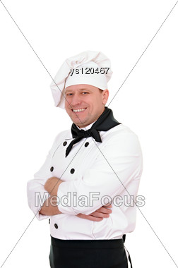 Smiling Man Cook Stock Photo