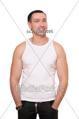 Smiling Man In A White T-shirt. Stock Photo