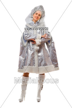 Smiling Snow Maiden. Stock Photo