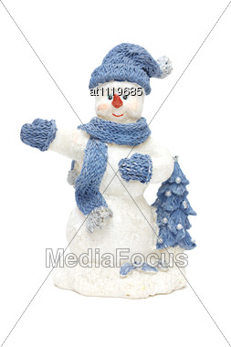 Smiling Snowman Toy Dressed In Scarf And Cap Stock Photo