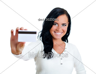 Smiling Woman With Credit Card. Isolated On White. Stock Photo