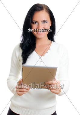 Smiling Woman With Tablet Pc. Isolated On White. Stock Photo