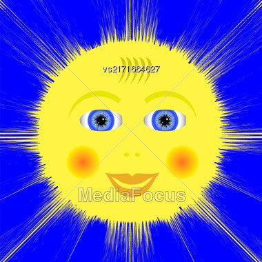 Smiling Yellow Sun Icon Isolated On Blue Background Stock Photo