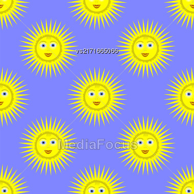 Smiling Yellow Sun Seamless Pattern On Blue Background Stock Photo