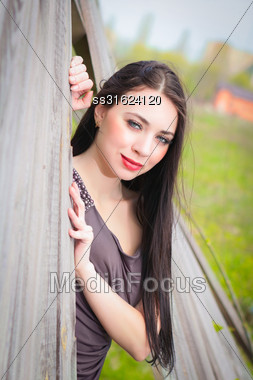 Smiling Young Brunette In Gray Dress Posing Behind The Wooden Fence Stock Photo