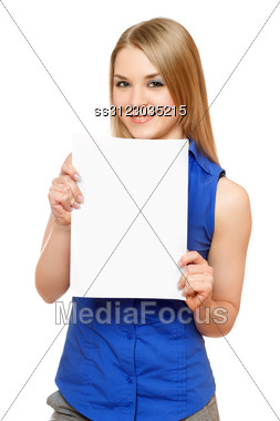 Smiling Young Woman Holding Empty White Board. Stock Photo