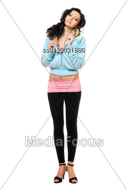 Smiling Young Woman In A Black Leggings. Stock Photo