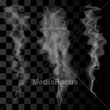 Smoke Set On Checkered Background. Delicate White Cigarette Smoke Waves On Transparent Background Stock Photo