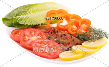 Smoked Fish With Fresh Vegetables And Lemon Isolated On White Background Stock Photo