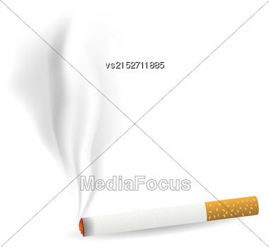 Smoking Single Cigarette Isolated On White Background Stock Photo
