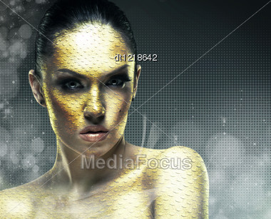 Snake Woman. Abstract Female Portrait Stock Photo