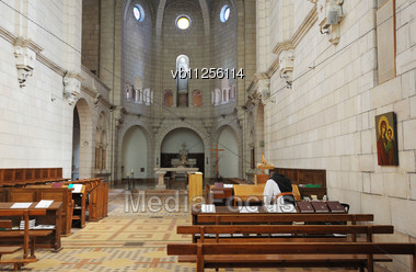 Snapshot Interior Of The Church In The Monastery Latrun (Israel) Stock Photo