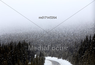 Snow Falling Mountains Road Trans Canada Highway Stock Photo