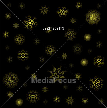 Snow Flakes Seamless Pattern On Black Background. Winter Christmas Decorative Texture Stock Photo