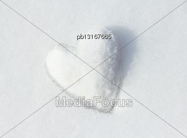 Snow Heart. Shallow Depth Of Field Stock Photo